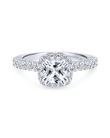 Gabriel & Co. Cushion-Cut Diamond Engagement Ring in White Gold with Halo