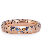 Polly Wales Narrow Blue Ombre Confetti Ring with Diamonds in rose gold