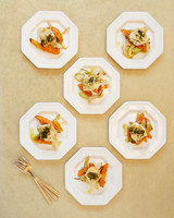 Overhead Shot of Food-Filled  Dinner Plates