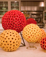 Red and Orange Flower Sphere Centerpieces