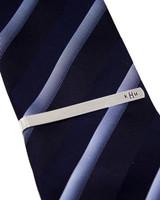 aluminum anniversary gift monogrammed tie clip