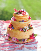 Three-Tier Naked Crepe Cake with Pink and Purple Flowers