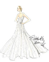 Elizabeth Kennedy sketch of her wedding dress design for Moda Operandi x Tiffany capsule collection