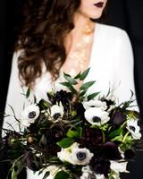 monochromatic bouquet black flowers