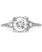 "Trumpet & Horn ""Grant Park""vintage-inspired engagement ring"