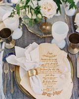 Gold Wedding Tablescapae with Gold Agate, Cups and Flatware