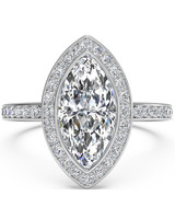 Ritani Marquise-Cut Vintage Engagement Ring with Halo and Micropavé Band