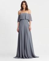winter bridesmaid dress monique lhuillier off shouler steel