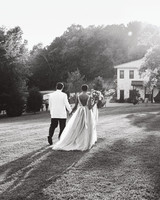 amanda william wedding tennessee couple walking recessional black and white