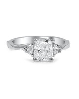 Brilliant Earth Cushion-Cut Diamond Engagement Ring on Twisted Band with Half-Moon Accents