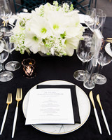hamida charlie charleson wedding place setting black and white