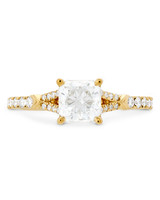 Hearts on Fire square diamond split shank yellow gold engagement ring