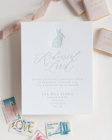 invitation with rabbit detail