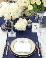 classic blue wedding table number