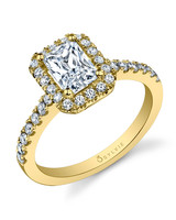 Sylvie Collection yellow gold engagement ring with emerald-cut center diamond