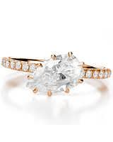 "Forevermark by Jade Trau rose gold ""Free Bird"" pear solitaire engagement ring"