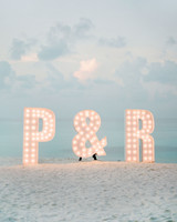 marquee letters on beach