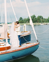 Bride and Groom Kissing on Boat