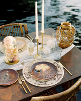 turks and caicos shoot erich mcvey tablescape brown plates rattan florals
