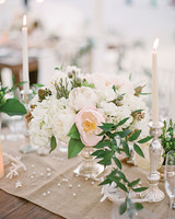 Beachy Pink and White Centerpiece