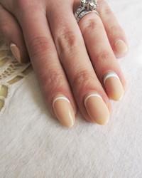 """""""Something Blue"""" Reverse French Manicure Wedding Nails"""