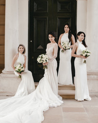 26 Chic Bridal Parties Wearing All-White Dresses