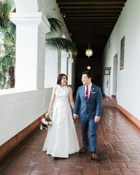 A Courthouse Wedding with a Red-and-Gray Restaurant Reception