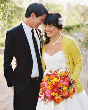 A Whimsical Yellow, Orange, and Pink Outdoor Wedding in California