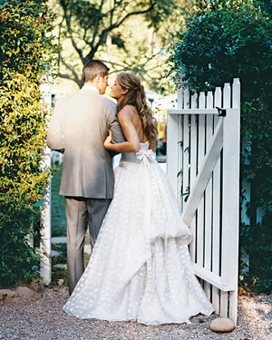 A Traditional Pale-Blue-and Pink Wedding at Home in California