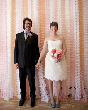An Intimate, Modern Pink-Colored Wedding in Brooklyn, New York