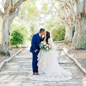 erika evan wedding couple kiss in line of trees