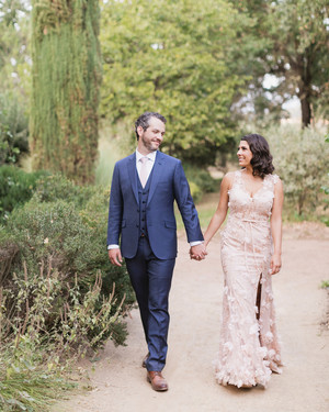 The Bride's Pink Floral Wedding Dress Brought a Touch of Color to This Organic Celebration in California