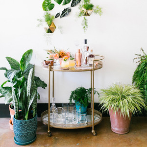 tropical bridal shower bar