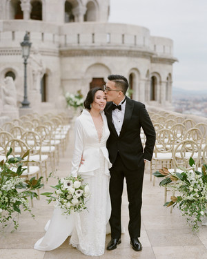 An Elegant Wedding in Budapest with a Green-and-White Color Palette