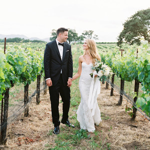 kati erik wedding couple walking in vineyard