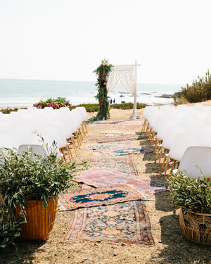 A Bohemian Wedding Trend We're Loving: Ceremony Aisles with Rugs