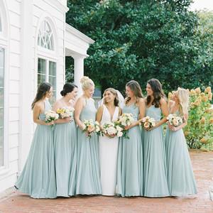 lauren alex wedding bridesmaids in sea foam dresses