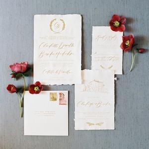 Simple and elegant gold calligraphy wedding invitation suite