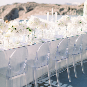angie prayogo greece wedding reception table and chairs