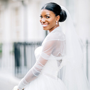 bride with lower bun updo