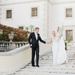 brette patrick wedding couple stairs