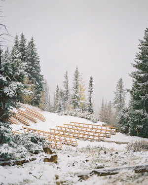 A Surprise Snowfall Wowed Guests at This Couple's Fall Wedding in Aspen, Colorado