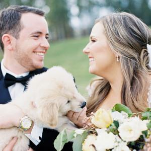 Bride and Groom with Dog at South Carolina Wedding