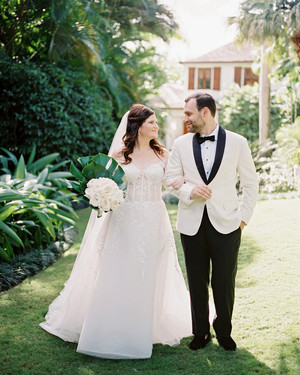 Palm Prints and Stripes Set the Tone for This Couple's Destination Wedding in Jamaica