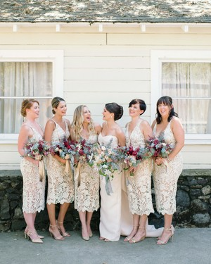 34 Beautiful Lace Bridesmaids' Dresses