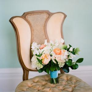 wedding bouquet in chair
