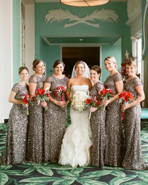 Black and Gold Bridesmaid Dresses