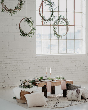 how to plan a boho meets industrial winter bridal shower
