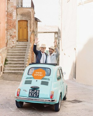 A Modern, Orange-and-Blue Wedding in Italy