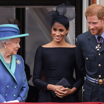 The Queen, Meghan Markle, and Prince Harry at 100th Anniversary of the Royal Air Force, Westminster Abbey, London, UK
